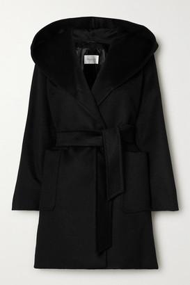 Max Mara Rialto Hooded Belted Camel Hair Coat - Black