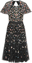 Needle & Thread Starburst Open-back Embellished Tulle Dress - Black