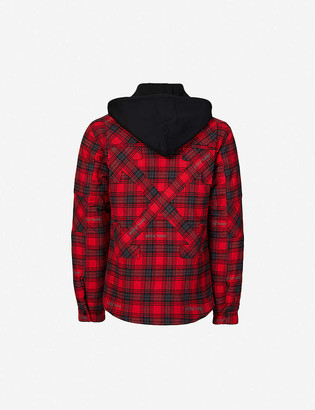 Off-White Check-print cotton-blend hooded jacket