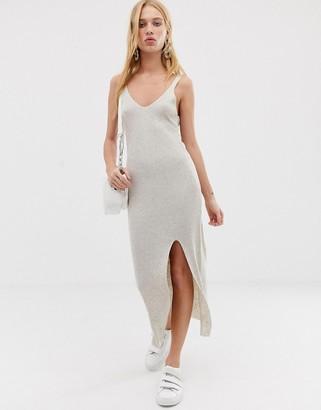 Asos Design DESIGN rib knit midi dress-Stone