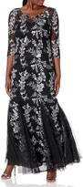 Thumbnail for your product : Alex Evenings Women's Long V-Neck Fit and Flare Dress Lace