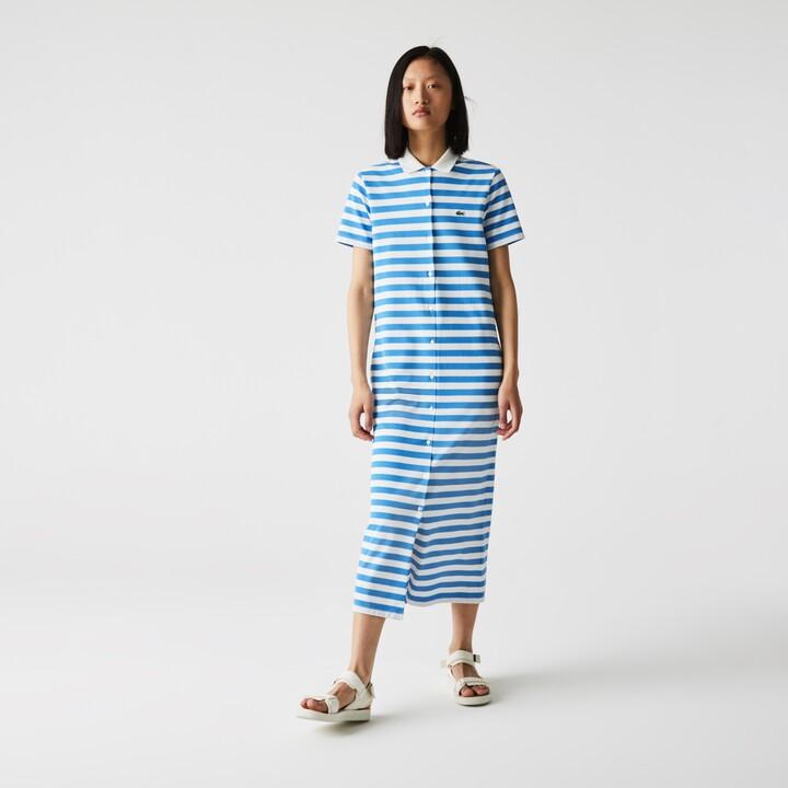 Lacoste Womens Striped Cotton Pique Long Buttoned Dress
