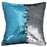 """YuKing Reversible Sequins Mermaid Pillow Cases Sofa Throw Pillowcase Cushion Case 16""""X16"""" with magic mermaid sequin (Pillow insert not included) ) (Blue+Silver)"""