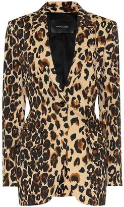 Thierry Mugler Leopard-print cotton blazer