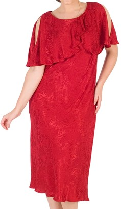 Chesca Satin Back Crepe Jacquard Dress, Ruby