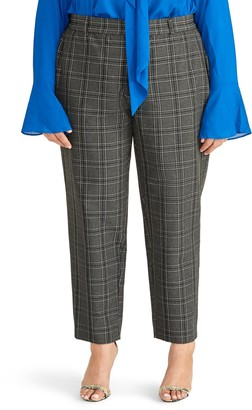 Rachel Roy High Waist Grey Check Tapered Trousers (Plus Size)