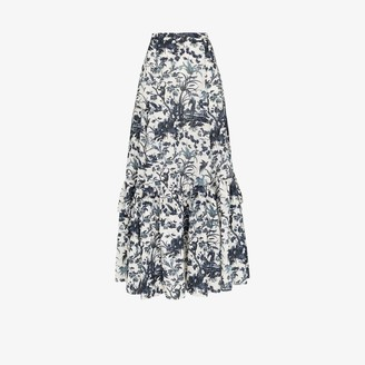 Erdem Womens White Althea Floral Print Tiered Skirt