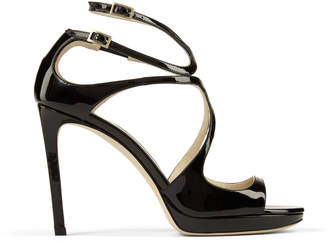 Jimmy Choo LANCE/PF 100 Black Patent Leather Strappy Stiletto Sandals