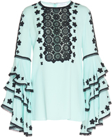 Andrew Gn Cascaded Sleeve Embroidered Blouse