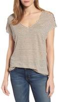 Lucky Brand Women's Cold Shoulder Stripe Linen Tee