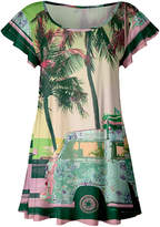 Lily Women's Tunics ROS - Rose & Green Beach Van Ruffle-Sleeve Tunic - Women & Plus