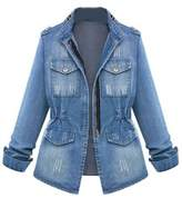 Zilcremo Women Autumn Casual Stand Neck Washed Long Sleeve Denim Jacket Blazer Outcoat Plus Size XS