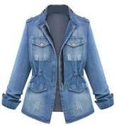 Zilcremo Women Casual Denim Jacket Blazer Outcoat Plus Size XXL