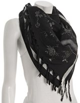 black cotton-silk 'Roses' fringe scarf