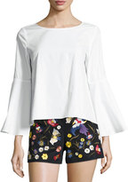 Alice + Olivia Shirley Flared-Sleeve Top, White