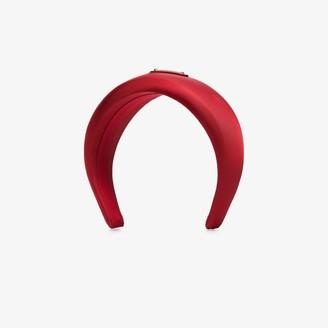 Prada Red Logo Satin Headband