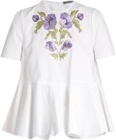 Alexander McQueen Embroidered cotton-piqué blouse