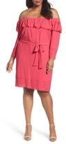 Tahari Plus Size Women's Off The Shoulder Shift Dress