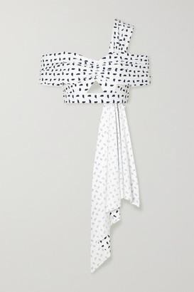 Self-Portrait Off-the-shoulder Draped Cutout Printed Bikini Top - White