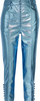 Hillier Bartley - Glam Metallic Faux Textured-leather Straight-leg Pants - Light blue