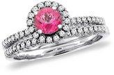 Sabrina Silver 14K White Gold Diamond Natural Topaz 2pc Halo Engagement Ring Set Round 4 mm, size 9