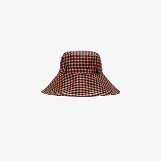 Ganni Black And Red Checked Bucket Hat