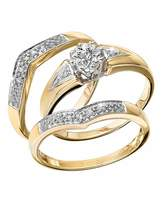 Fashion World 9 Carat Gold Diamond Ring Set