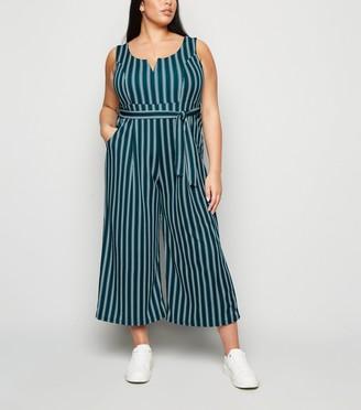New Look Curves Stripe Culotte Jumpsuit