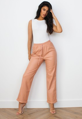 Missguided Peach Faux Leather Turn Up Joggers