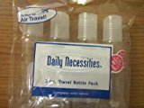 Paris Presents Daily Necessities Travel Bottle Set 4pc 3 Oz. Transparent Travel Bottles Complete with Labels Perfect for AIR Travel!