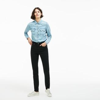Lacoste Women's LIVE Five-Pocket Stretch Cotton Denim Jeans
