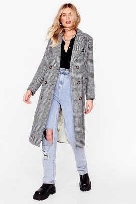 Nasty Gal Womens You're Lookin' Line Check Longline Coat - Black - 8