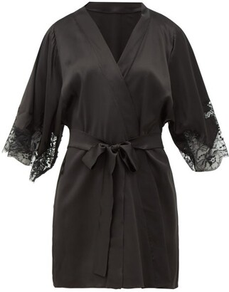 Fleur of England Lace-insert Silk-blend Robe - Black