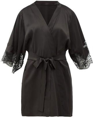 Fleur of England Lace-insert Silk-blend Robe - Womens - Black