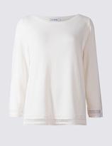 Classic Pure Cotton Lace Trim 3/4 Sleeve Jumper