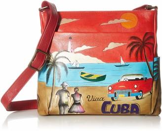 Anna by Anuschka Women's Genuine Leather Cross Body with Side Pockets | Hand Painted Original Artwork | Viva Cuba