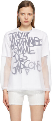 Junya Watanabe White Mesh Long Sleeve T-Shirt