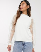 Pieces high neck top with organza sleeves in white