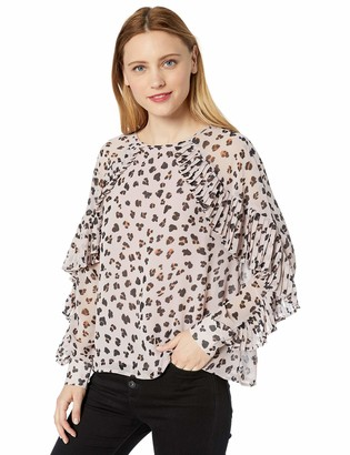 Cupcakes And Cashmere Women's Deen Printed Blouse w/Pleat Details
