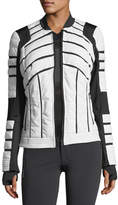 Blanc Noir Quilted Bomber Jacket with Mesh-Inset