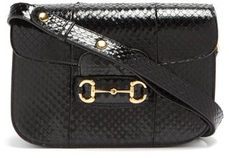 Gucci 1955 Horsebit Snakeskin Shoulder Bag - Black