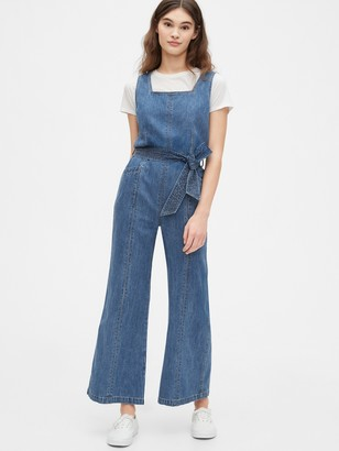 Gap Squareneck Wide-Leg Denim Jumpsuit