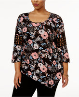 NY Collection Plus Size Floral-Print Crochet-Trim Top