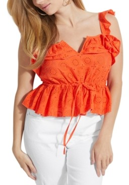 GUESS Nuala Embroidered Eyelet Tank Top
