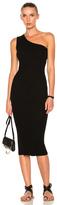 Enza Costa Rib One Shoulder Midi Dress in Black.