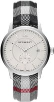 Burberry 40mm Classic Round Watch with Leather Strap, Silver