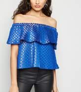 New Look Nesavaali Bright Metallic Jacquard Bardot Top
