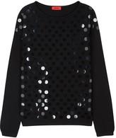 HUGO Black Embellished Cotton Blend Jumper