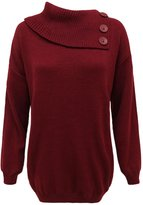 Envy Boutique Womens Knitted 3 Butons Polo Neck Pullover Sweater Jumper Top Plus Sizes Wine 24-26