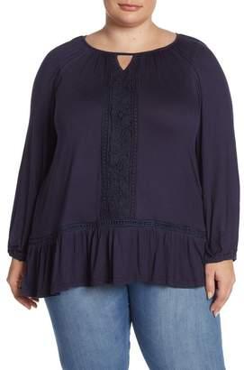 Forgotten Grace Crochet Trim Peplum Hem Tunic (Plus Size)